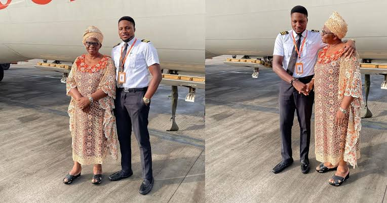Nigerian Pilot Excited As He Flies His Mum For The First Time To Her Destination [Photos] 1