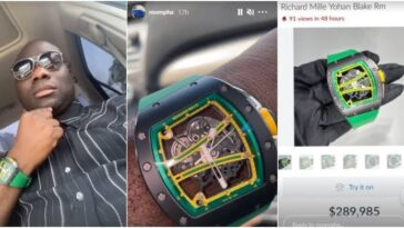 Nigerian Big Boy, Mompha Show Off His Richard Millie Wristwatch Worth N118 Million [Video] 3