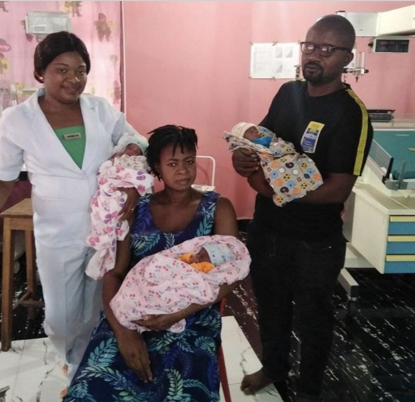 Nigerian Woman, Samuel Regina Gives Birth To Triplets After 11 Years Of Marriage [Photos] 2