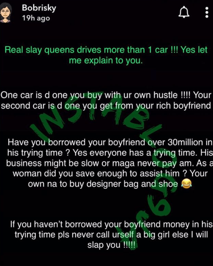 """""""You're Not A Big Girl If You Haven't Borrowed Your Boyfriend Over N30 Million"""" - Bobrisky 2"""