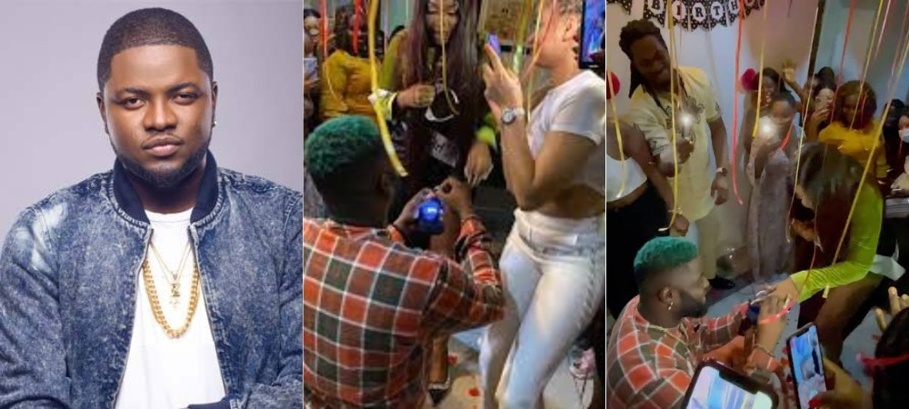 Singer, Skales Feeling Nervous As He Proposes To His Girlfriend At Her Birthday Party [Video] 1