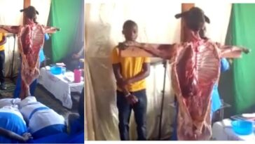 Church Members Seen Praying And Worshipping A Dead Goat Nailed To A Cross [Video] 2
