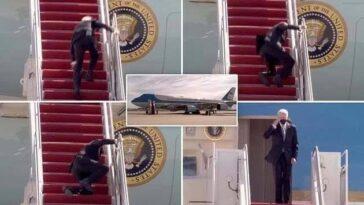 US President, Joe Biden Falls Three Times While Boarding Air Force One Aircraft [Video] 3