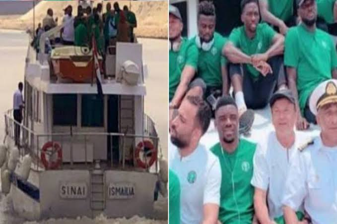 Nigeria's Super Eagles Arrives Benin Republic By Boats Ahead Of AFCON Qualifiers [Photos/Video] 1