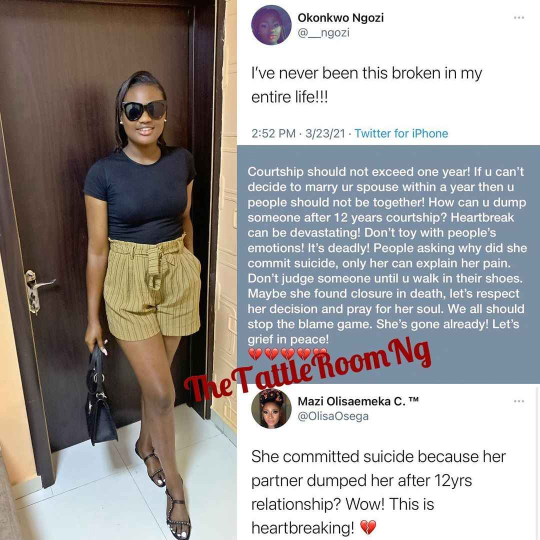 Young Nigerian Lady Commits Suicide After Her Boyfriend Of 12 Years Dumped Her 2