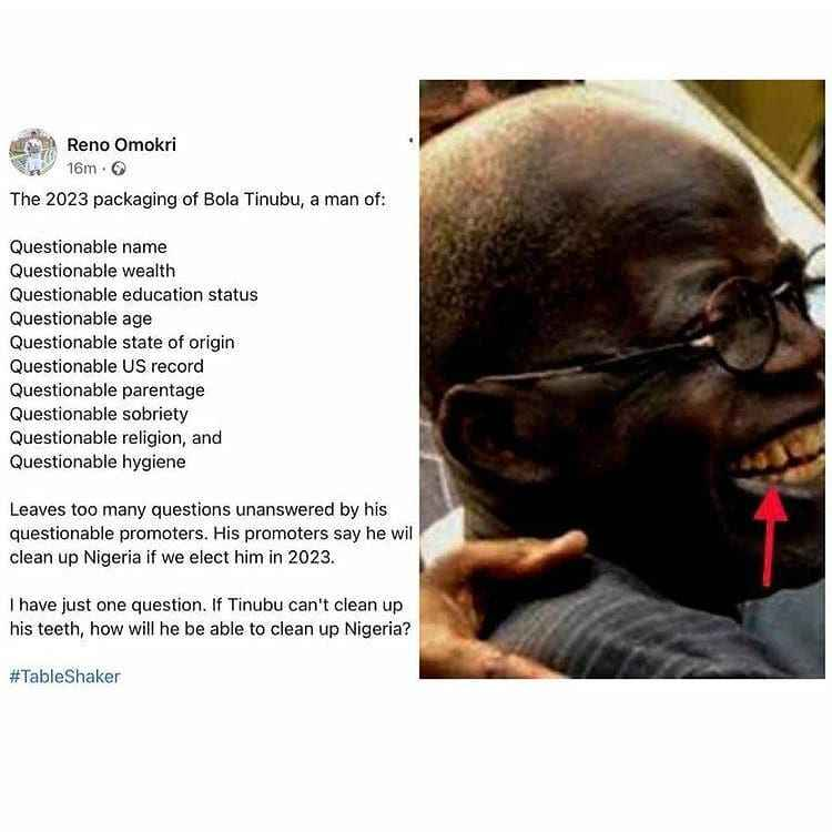 """""""If Tinubu Can't Clean Up His Teeth, How Will He Clean Up Nigeria?"""" - Reno Omokri Asks 2"""