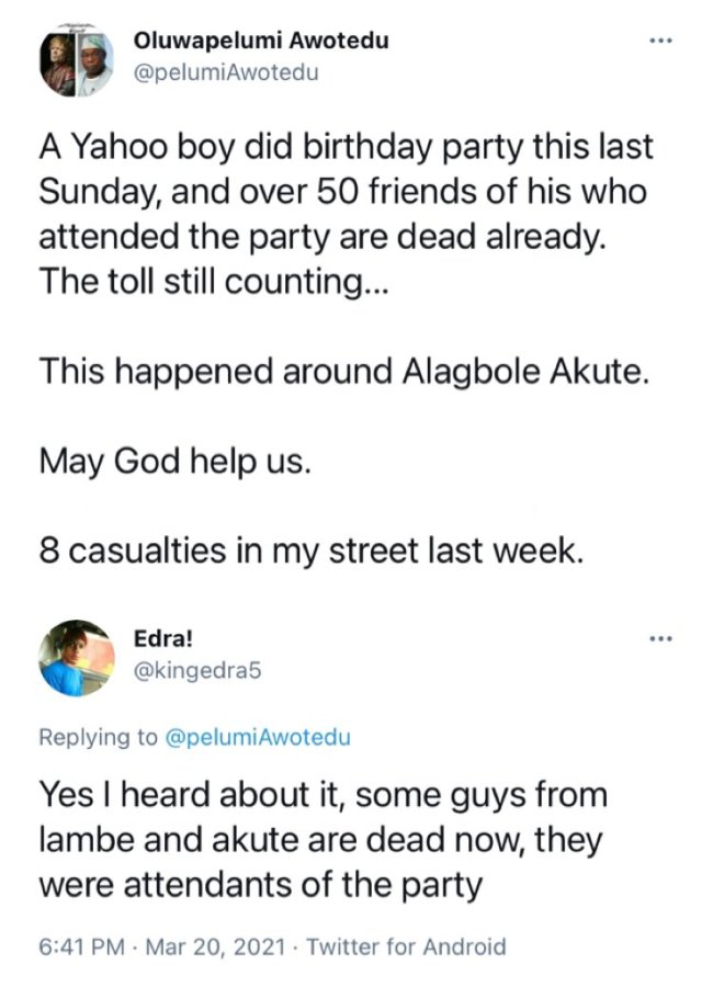 Over 50 Friends Allegedly Dies Mysteriously After Attending Yahoo Boy's Birthday In Ogun 2