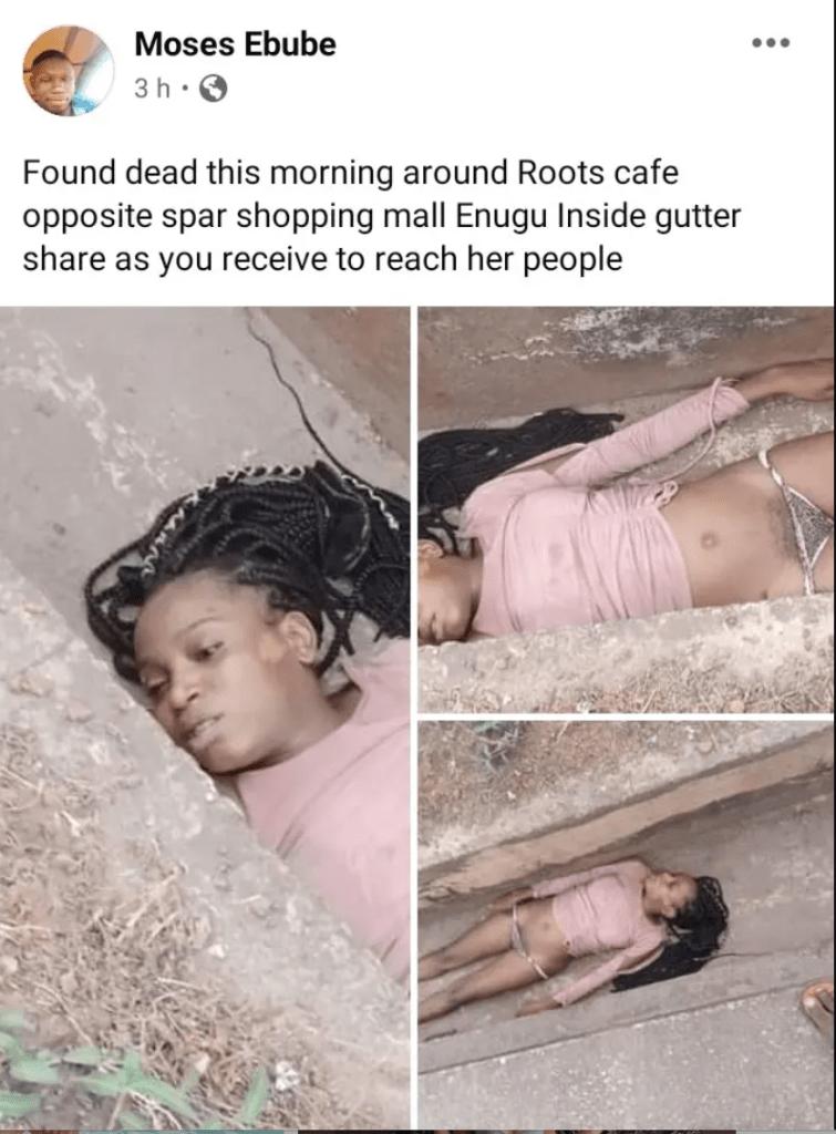 Lifeless Body Of 20-Year-Old Lady, Orji Chiamaka Found Inside Gutter In Enugu [Photos] 2