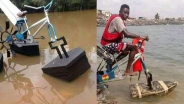 Student Builds Floating Bicycle For Kids Living In Riverine Areas [Photos] 4