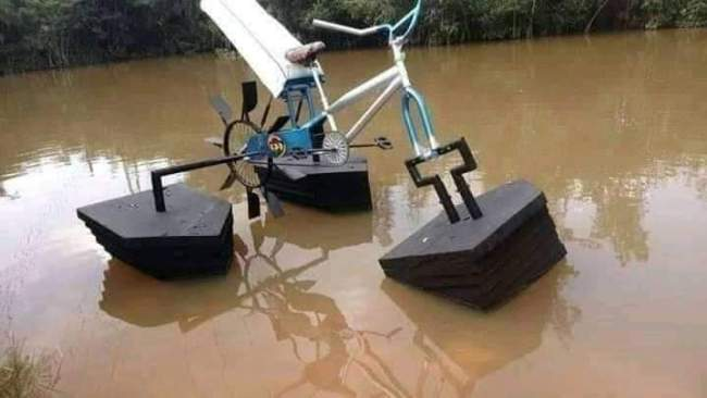 Student Builds Floating Bicycle For Kids Living In Riverine Areas [Photos] 2