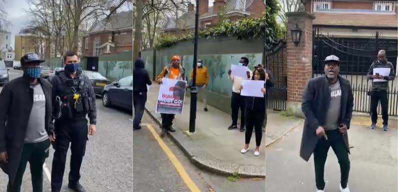 "Medical Trip: Reno Omokri Leads Protest To ""Harass President Buhari Out Of  London"" [Video] 