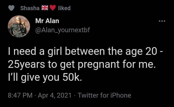 Nigerian Man Says He Will Pay N50,000 To Any Lady Who Would Get Pregnant For Him 2