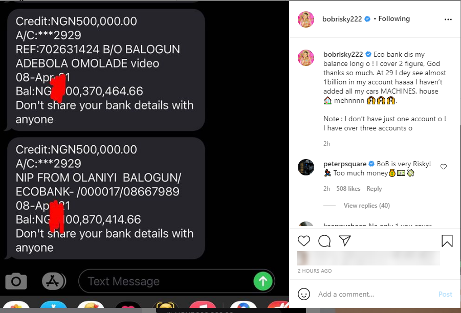 Peter Okoye Reacts As Bobrisky Shows Off His Bank Account Balance Of Almost N1 Billion 2