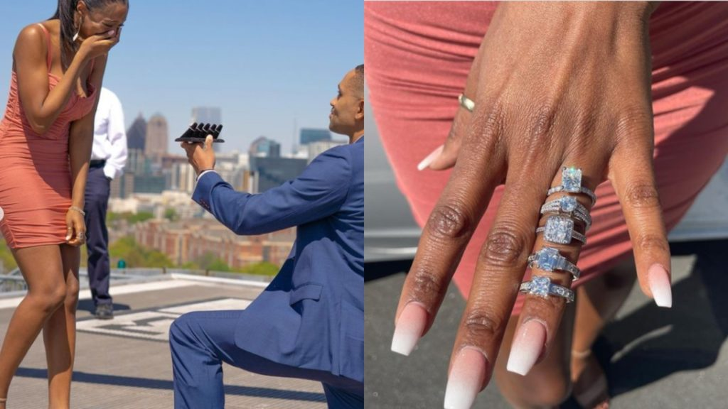 Man Proposes To Girlfriend With 5 Different Diamond Rings, All On Same Finger [Photos] 1