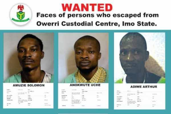 Imo Jailbreak: NSC Releases Names And Pictures Of Inmates Who Escaped Owerri Prison 1
