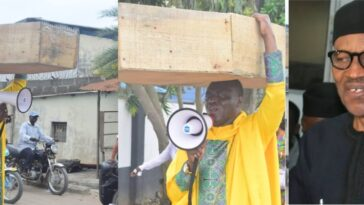 Nigerian Archbishop Protest Against President Buhari With Heavy Coffin On His Head [Photos] 10