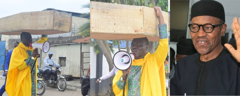 Nigerian Archbishop Protest Against President Buhari With Heavy Coffin On His Head [Photos] 1