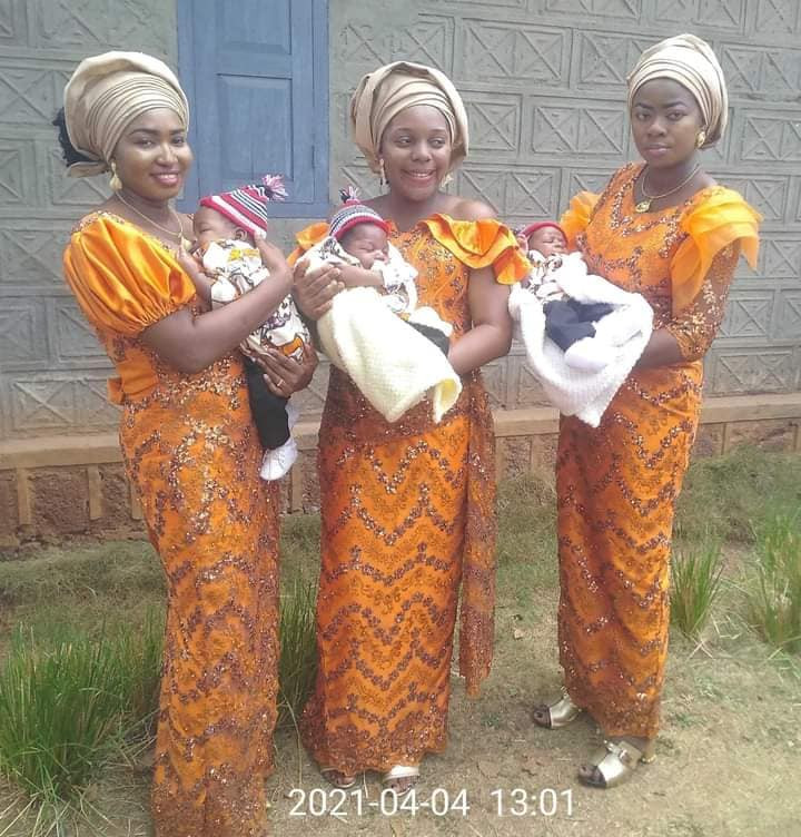 Triplets Who Married Same Day In Enugu, Welcome Baby Boys Within Same Period [Photos] 5