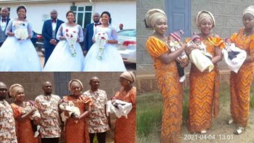 Triplets Who Married Same Day In Enugu, Welcome Baby Boys Within Same Period [Photos] 1