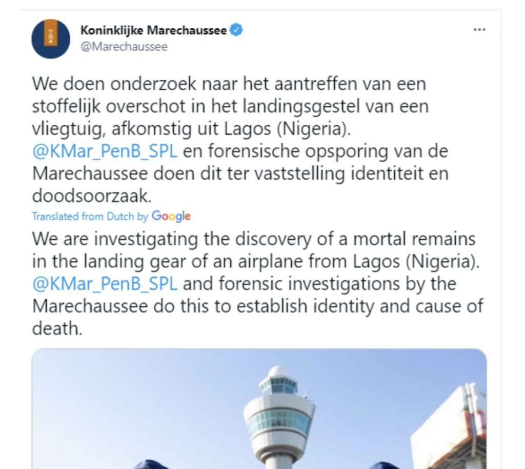 Dead Body Of Stowaway Found In Landing Gear Of Plane Arriving Amsterdam From Nigeria 2