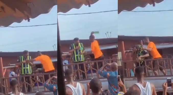 Angry Driver Breaks Bottle On Policeman's Head For Trying To Impound His Car In Lagos [Video] 1