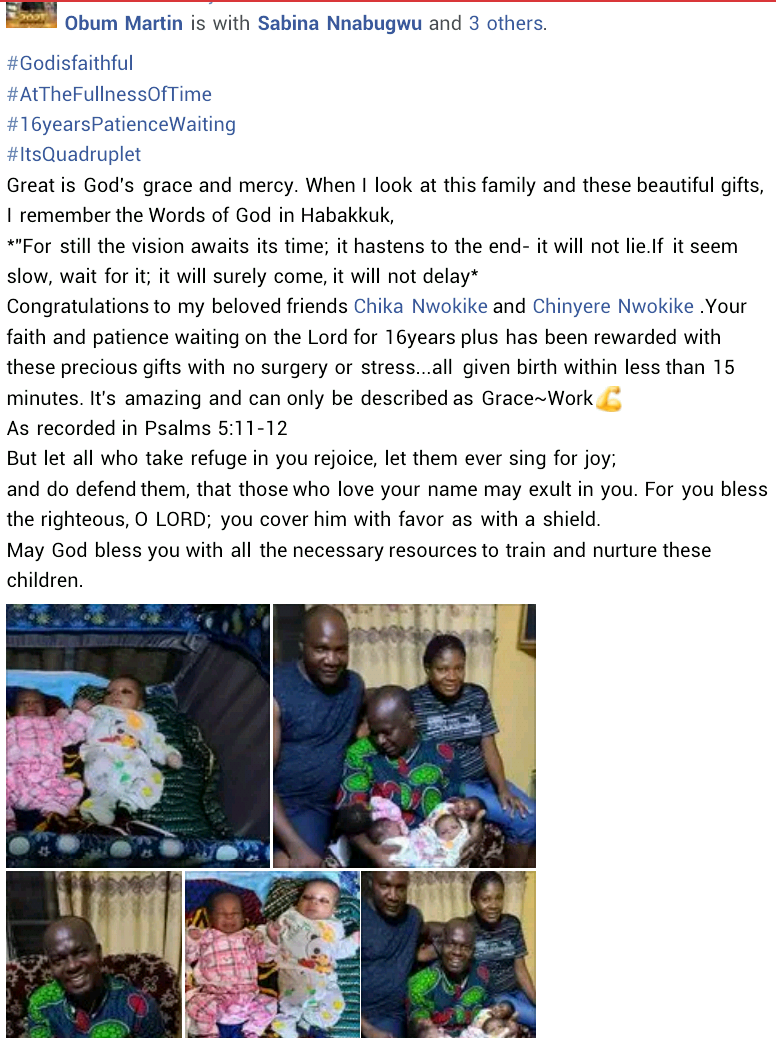 Anambra Couple Welcomes Quadruplets After 16 Years Marriage And Struggling For A Child 2