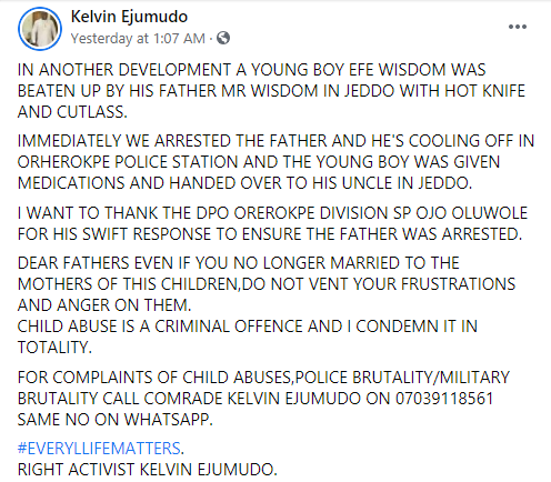 Police Arrests Man For Brutalizing His Son With Hot Knife And Cutlass In Delta State [Photos] 2