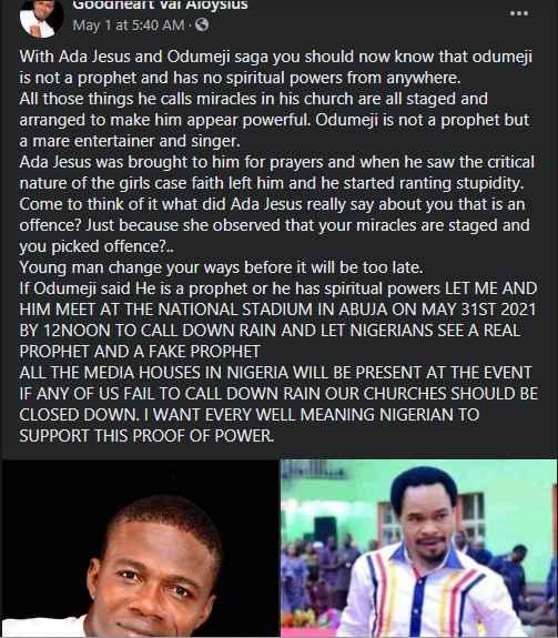 Prophet Aloysius Declares Odumeje Fake, Challenges Him To Spiritual Power Display 2