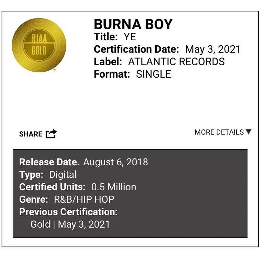 Burna Boy 'YE' Has Been Certified Gold Status in USA 1