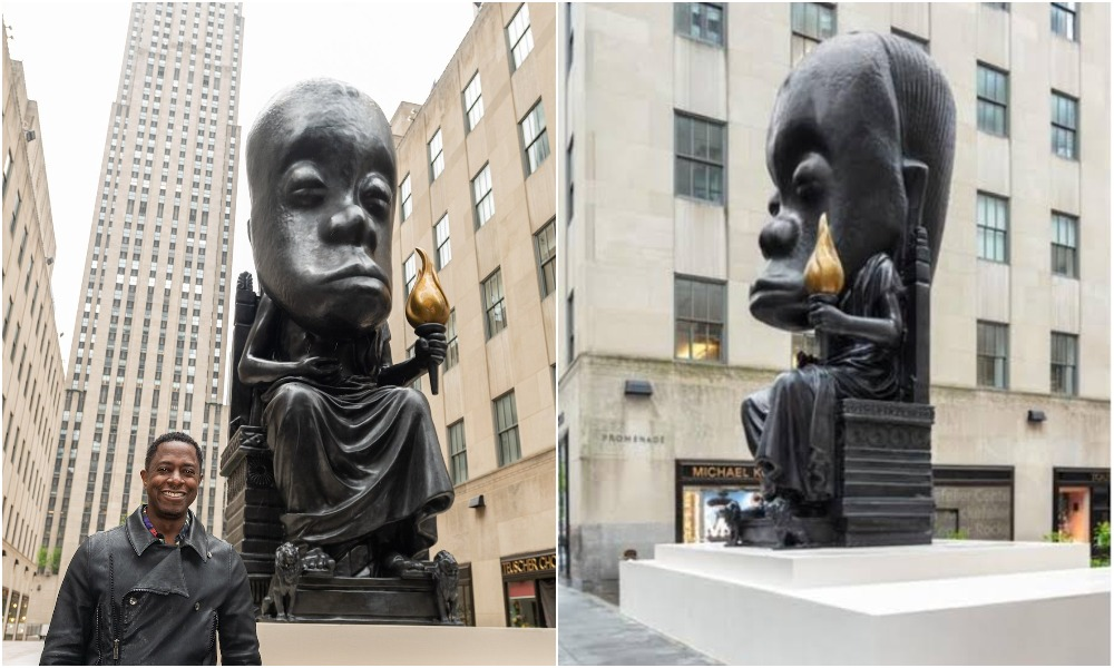 Outrage As Sanford Biggers Unveils 25-Foot Statue In New York City To Honor African Culture 1