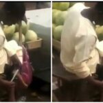 Fruit Seller Caught Using Knife Used In Cutting Watermelon To Scrape His Feet [Video] 28