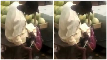 Fruit Seller Caught Using Knife Used In Cutting Watermelon To Scrape His Feet [Video] 8