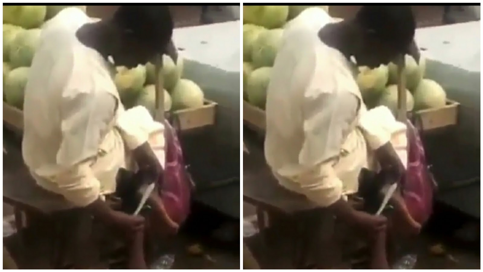 Fruit Seller Caught Using Knife Used In Cutting Watermelon To Scrape His Feet [Video] 1