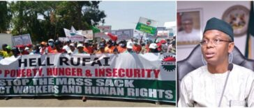 NLC Shuts Down Kaduna With 'Hell Rufai' Banner As They Protest Against Governor El-Rufai 27