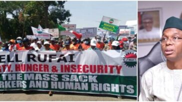 NLC Shuts Down Kaduna With 'Hell Rufai' Banner As They Protest Against Governor El-Rufai 3