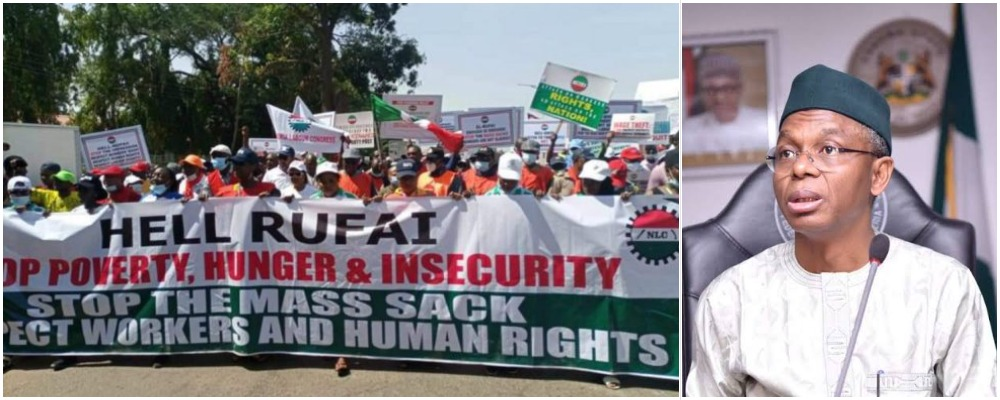 NLC Shuts Down Kaduna With 'Hell Rufai' Banner As They Protest Against Governor El-Rufai 1