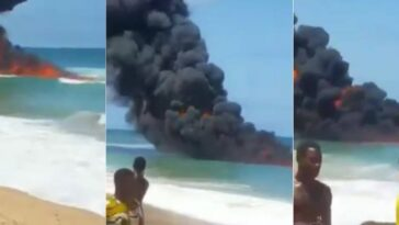 Confusion As Strange Fire Breaks Out Inside Water At Ilashe Beach In Lagos [Video] 2
