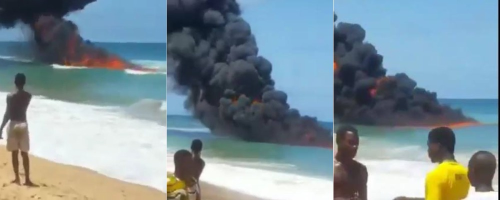 Confusion As Strange Fire Breaks Out Inside Water At Ilashe Beach In Lagos [Video] 1