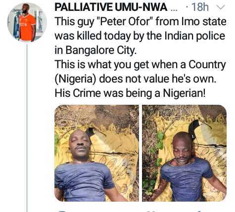 Nigerian Man, Peter Ofor Allegedly Killed By Police In India For 'Being A Nigerian' 4