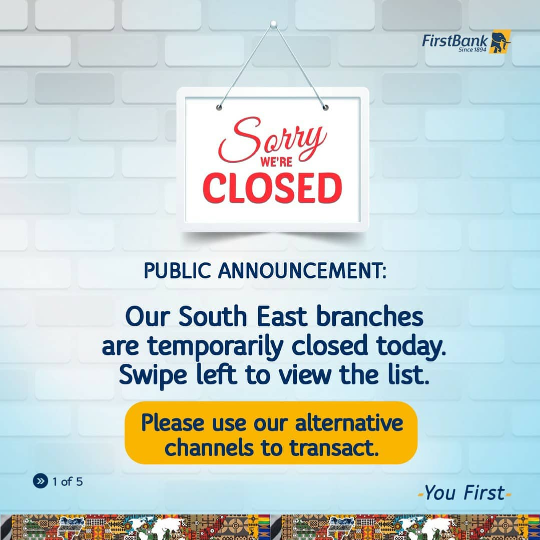 First Bank Speaks About Closing All Its Branches In South East Due To Insecurity 2