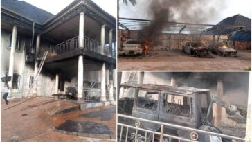 IPOB's ESN Members Accused Of Burning Man's Mansion And Fleet Of Cars In Abia [Photos] 6