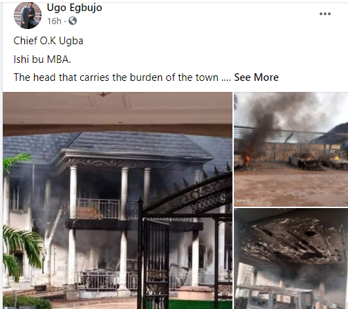 IPOB's ESN Members Accused Of Burning Man's Mansion And Fleet Of Cars In Abia [Photos] 2