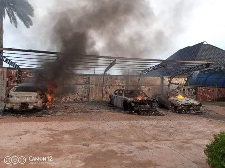 IPOB's ESN Members Accused Of Burning Man's Mansion And Fleet Of Cars In Abia [Photos] 4