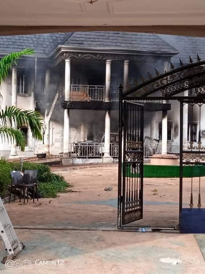 IPOB's ESN Members Accused Of Burning Man's Mansion And Fleet Of Cars In Abia [Photos] 3
