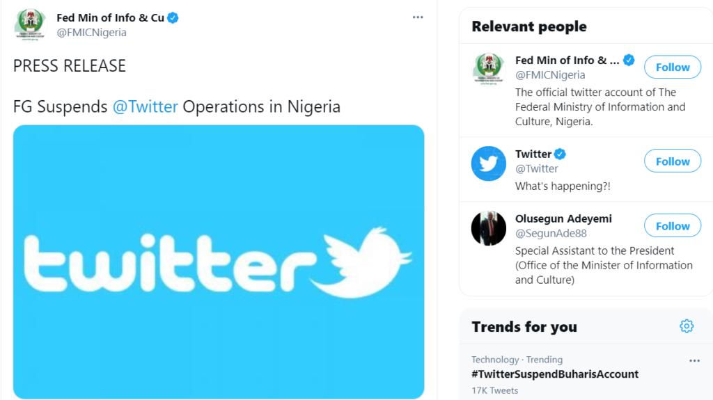 Twitter suspended in Nigeria: Buhari Retaliates, Suspends Twitter Operations In The Country 3