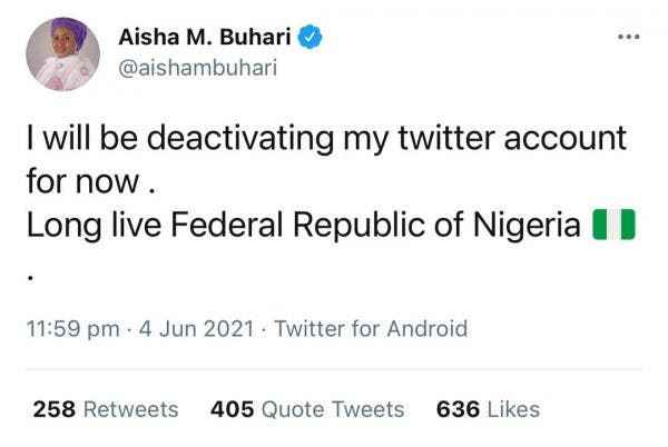 """""""Long Live Nigeria"""" - First Lady Aisha Buhari Says As She Deactivates Her Twitter Account 2"""