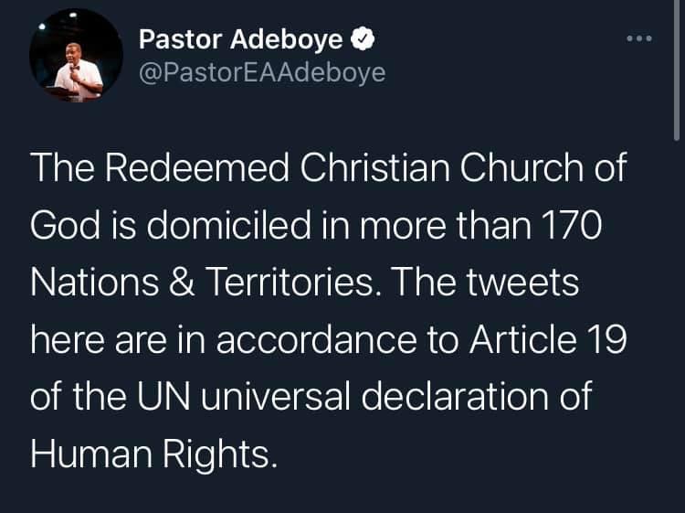 Pastor Adeboye Defies Twitter Ban, Says Tweeting Is Within UN Universal Human Rights 2