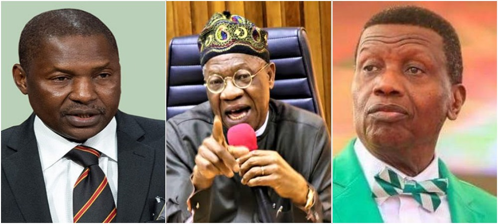 AGF Malami Will Prosecute Pastor Adeboye, Others Who Defied Twitter Ban - Lai Mohammed 1