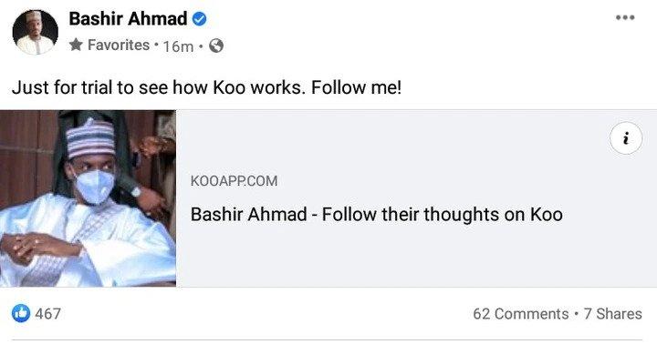 Twitter Ban: Buhari's Aide, Bashir Ahmad Promotes Indian Social Media Platform 'Koo App' 2