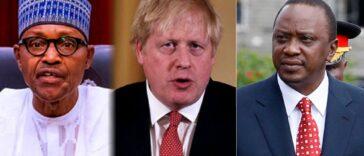 Buhari Arrives London For Summit, Holds Talks With Boris Johnson, Uhuru Kenyatta